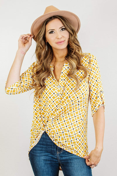 Glitzy Girlz Boutique Take A second Top, Mustard/Off White