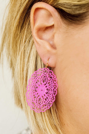 Glitzy Girlz Boutique Tell A Story Earrings, Fuchsia