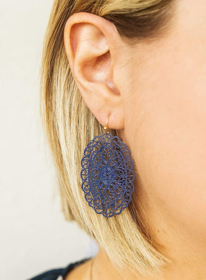 Glitzy Girlz Boutique Tell A Story Earrings, Navy