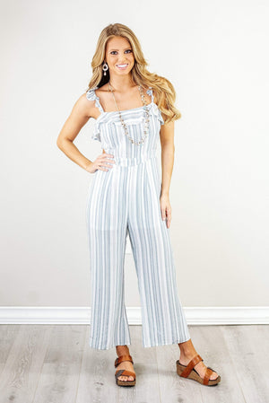 Glitzy Girlz Boutique Tell Ya Later Romper, Blue/White