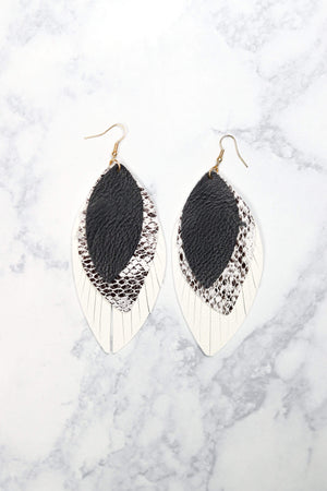 Glitzy Girlz Boutique Tennessee River Earrings, Black/Snake