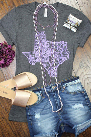 Glitzy Girlz Boutique Texas Lace, Purple Graphic Tee