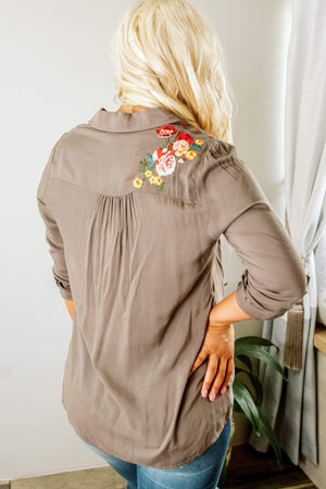 Glitzy Girlz Boutique That Kind Of Day Top, Olive