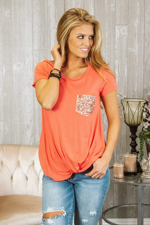 Glitzy Girlz Boutique The Best Of You Top, Coral