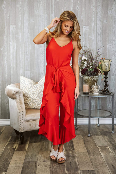 Glitzy Girlz Boutique The Day Is Here Jumpsuit, Red
