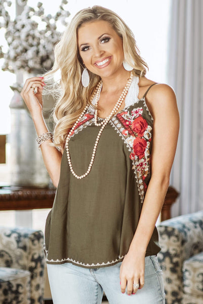 Glitzy Girlz Boutique The Flowers Edge Top, Olive