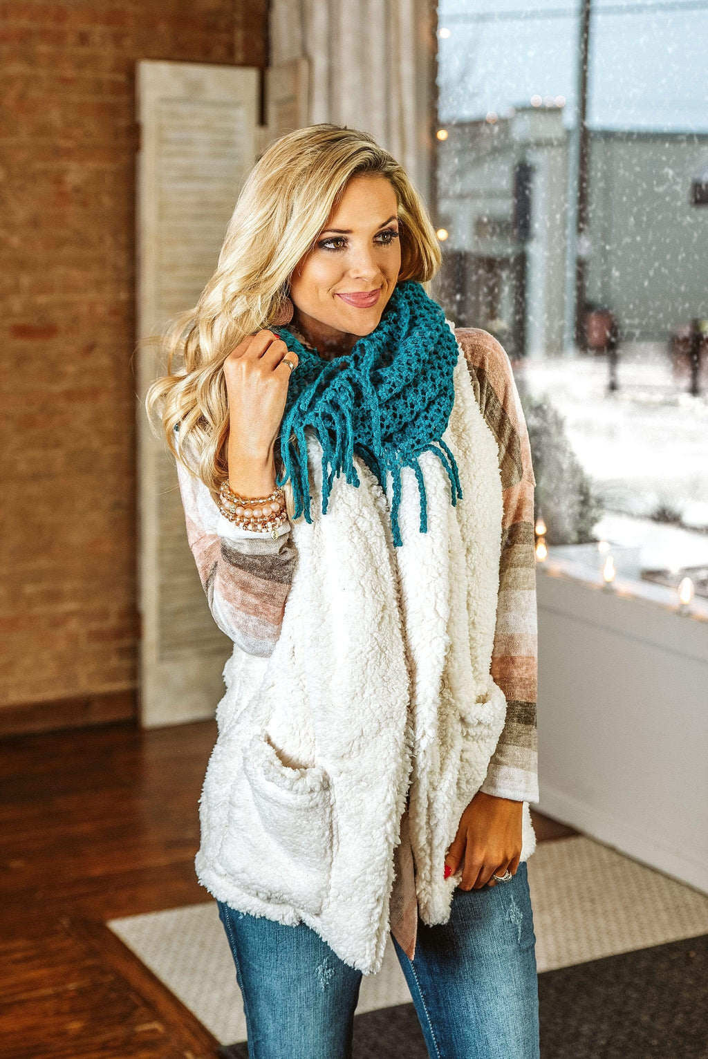 Glitzy Girlz Boutique The Mollie Scarf, Teal