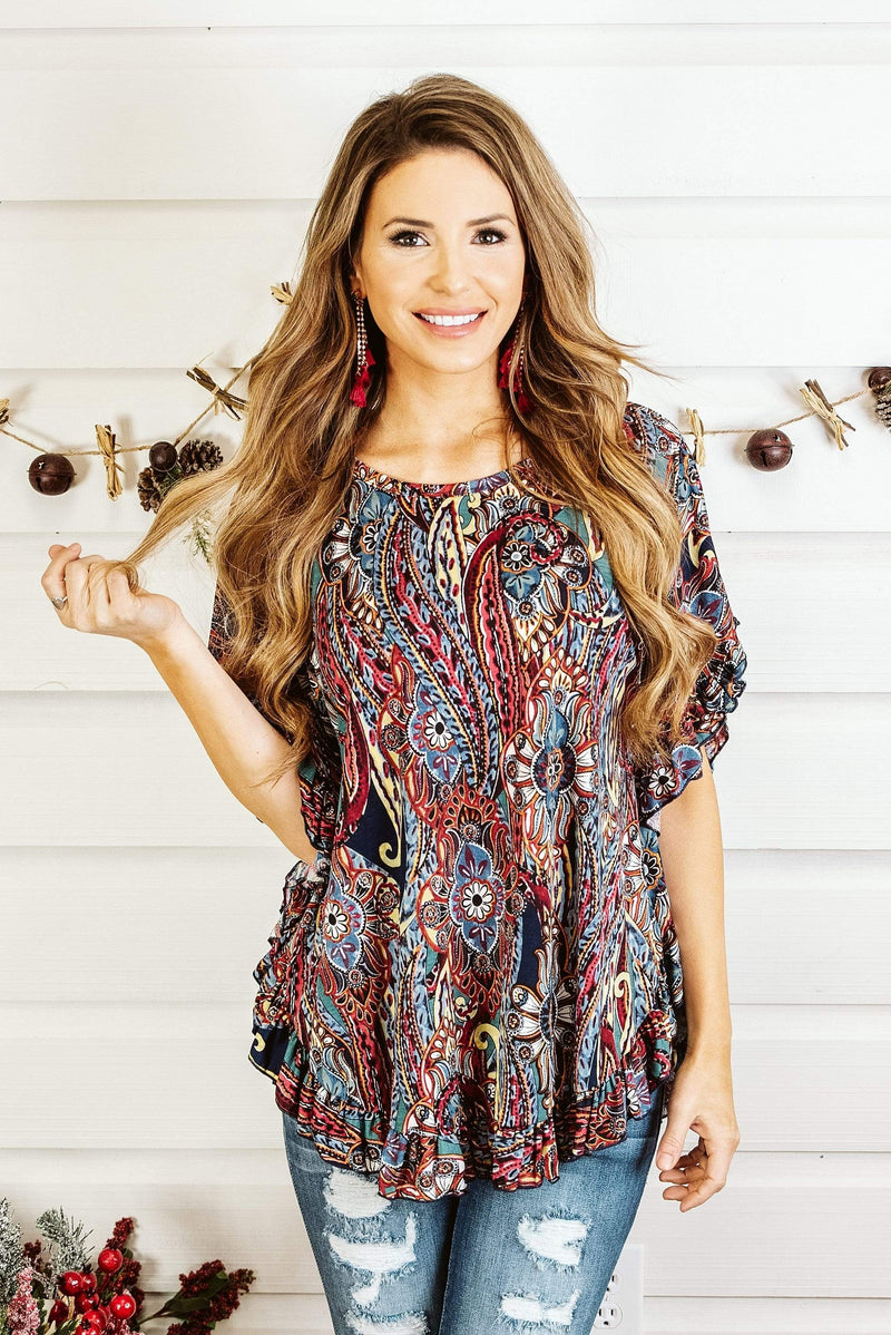 Glitzy Girlz Boutique The Perfect Blend Top, Navy/Burgundy