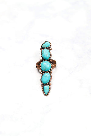 Glitzy Girlz Boutique Thunder Rolls Ring, Turquoise