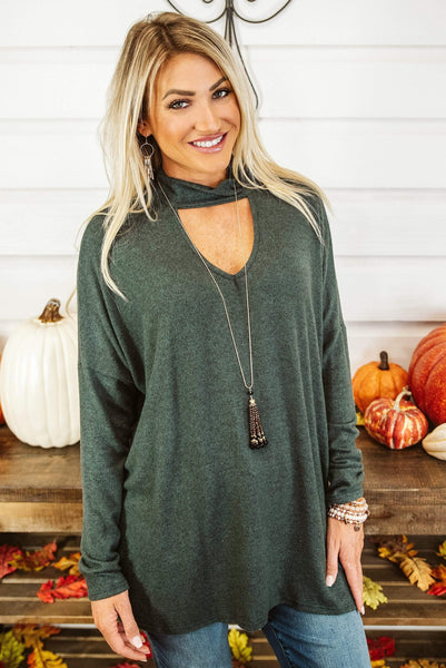 Glitzy Girlz Boutique Tried & True Top, Winter Green