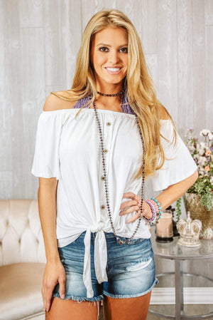Glitzy Girlz Boutique Turning Heads Top, Off White
