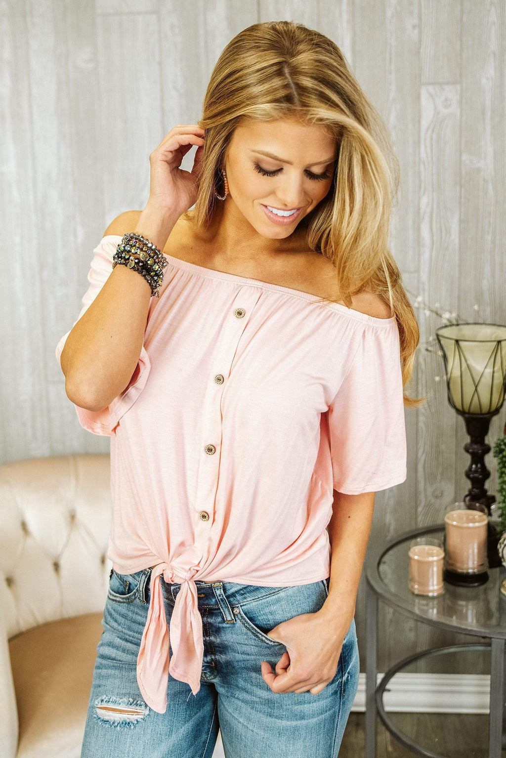 Glitzy Girlz Boutique Turning Heads Top, Peach