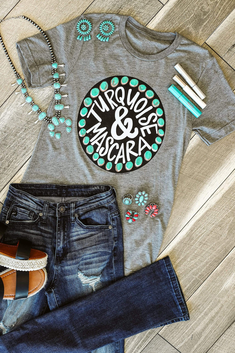 Glitzy Girlz Boutique Turquoise And Mascara Graphic Tee