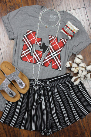Glitzy Girlz Boutique TX Plaid Graphic Tee