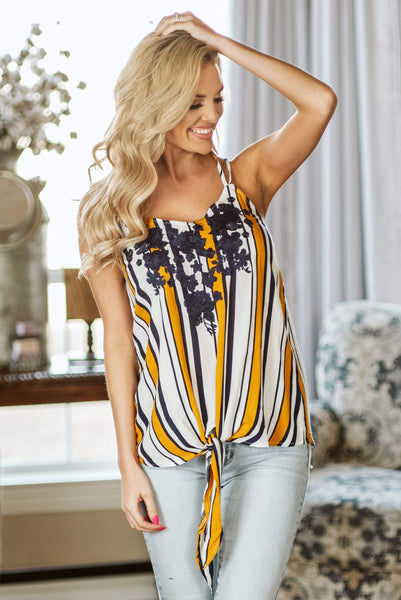 Glitzy Girlz Boutique Vintage Floral Top, Mustard
