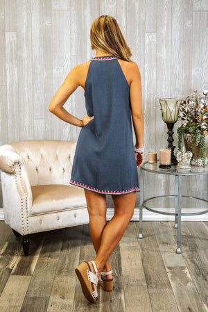 Glitzy Girlz Boutique Vintage Stitch Dress, Navy