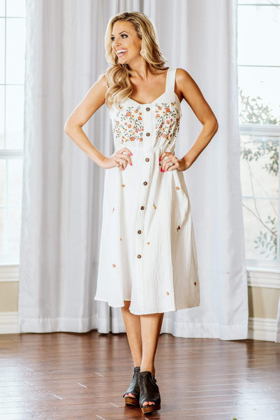 Glitzy Girlz Boutique Visions Of Floral Dress, Off White