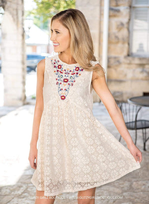 Glitzy Girlz Boutique What A Twist Dress, Cream