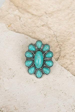 Glitzy Girlz Boutique When It's Said And Done Ring, Turquoise Cluster