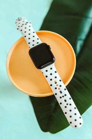 Glitzy Girlz Boutique White With Black Polka Dot Smart Watch Band