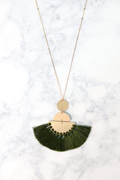 Glitzy Girlz Boutique Your Biggest Fan Necklace, Green