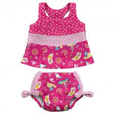 Mix & Match Two-piece Bow Tankini Swimsuit Set with Built-in Reusable Absorbent Swim Diaper - Young Vogue - 2