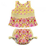 Mix & Match Two-piece Bow Tankini Swimsuit Set with Built-in Reusable Absorbent Swim Diaper - Young Vogue - 1