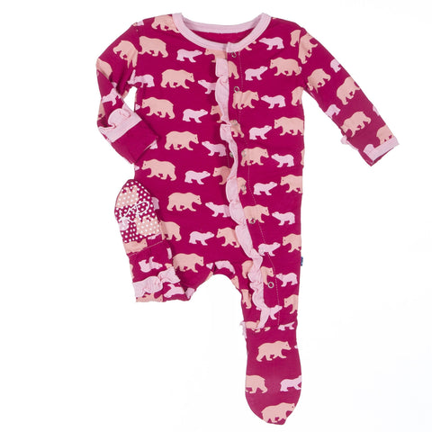 Print Ruffle Footie in Rhododendron Brown Bear - Young Vogue