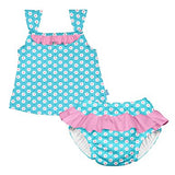 Tropical One-piece Ruffle Swimsuit with Built-in Reusable Absorbent Swim Diaper