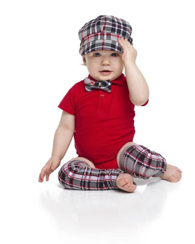 Everett Plaid Hat, Bow Tie, and Leg Warmer set - Young Vogue - 1