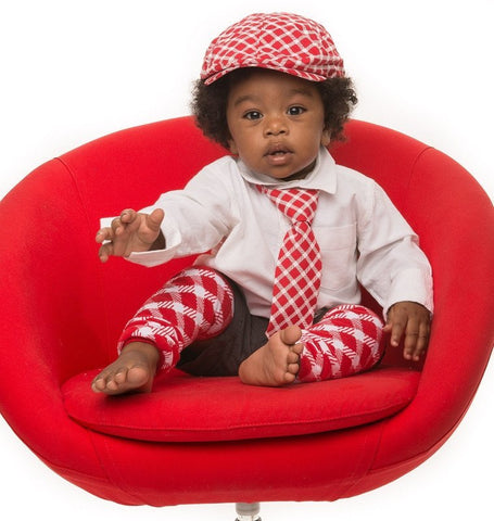 Red Plaid Cabbie Hat, Tie, and Leg Warmer Set - Young Vogue - 1