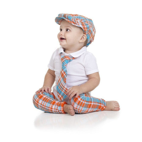 Tropical Tangerine Plaid Cabbie Hat, Tie, and Leg Warmer set - Young Vogue - 1