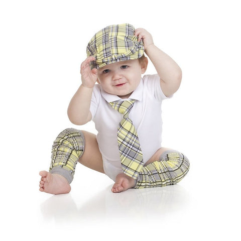 Yellow and Gray Plaid Cabbie Hat, Tie, and Leg Warmer set - Young Vogue - 1