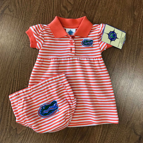 Gators Striped Dress with Bloomer