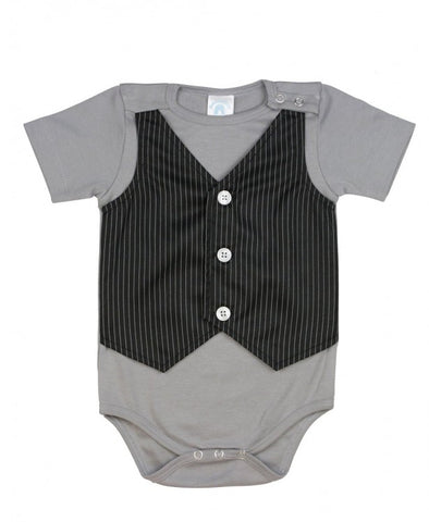 Ruggedbutts Gray w/Black Pinstripe Vest One-Piece