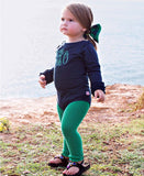 RuffleButts Ruffled Long Sleeve Navy Layering Bodysuit