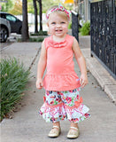 Painted Flowers Damask Ruffle Capris