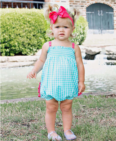 Seafoam Gingham Rouched Bubble Romper