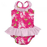 Tropical One-piece Ruffle Swimsuit with Built-in Reusable Absorbent Swim Diaper - Young Vogue - 1