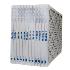 16x25x1 MERV 10 Furnace Air Filter, Pleated / Extended Surface Area. Case of 12