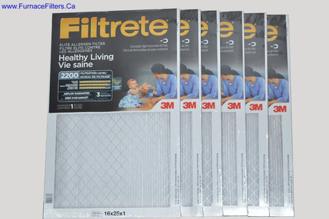 3M Filtrete 16x25x1 Furnace Filter MPR 2200. CASE OF 6.