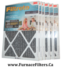 3M Filtrete Odour Reduction 16x25x1 Furnace Filter MPR 1200. Case of 6.