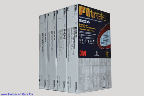 3M Filtrete 16x25x5 Furnace Filter. Case of 4