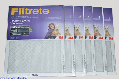 3M Filtrete 20x25x1 Furnace Filter MPR 1500. Case of 6.