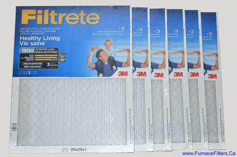 3M Filtrete 20x25x1 Furnace Filter MPR 1900. Case of 6.