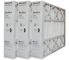 "Honeywell 20x25x4 Furnace and A/C Filter. Part # FC100A1037. Actual Size of Filter is 19 15/16"" x 24 7/8"" x 4 3/8"". Package of 3."