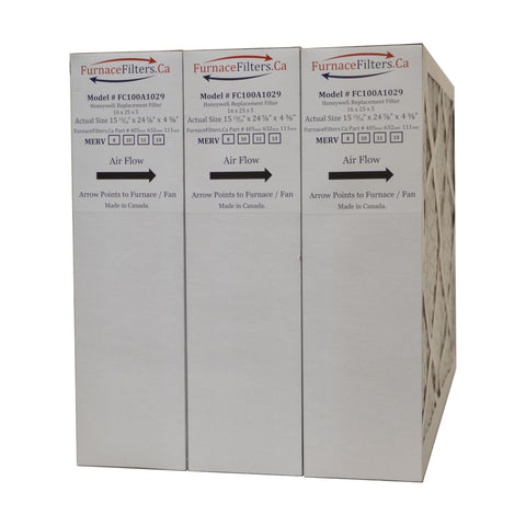 "16x25x4 3/8 Honeywell Size Replacement Filter. Actual Size 15 15/16"" x 24 7/8"" x 4 3/8"". MERV 11. Case of 3 Made by Furnace Filters.Ca"