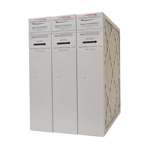 "Honeywell 20x20x4 Furnace Filter Model # FC100A1011 MERV 8. Actual Size 19 15/16"" x 19 3/4"" x 4 3/8."" Case of 3"