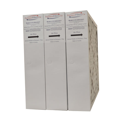 "Honeywell 20x25x4 Furnace Filter Model # FC100A1037 MERV 8. Actual Size 19 3/4"" x 24 3/4"" x 4 3/8."" Made in Canada by Furnace Filters.Ca Pkg. of 3"