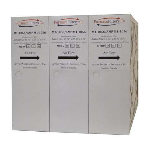 "M1-1056 MERV 10 Replacement Furnace Filter. Actual Size 15 3/8"" x 25 1/2"" x 5 1/4"". Case of 3."